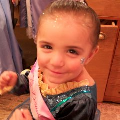 Keira in Merida costume after Bibbidi Bobbidi Boutique makeover