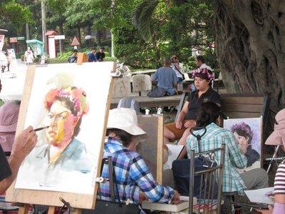 糖廠也有一個藝術園區,當天有人正畫畫。