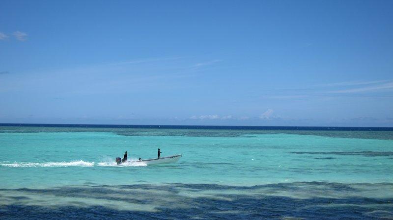 Boat in Sunset Beach @Mana Island, Fiji