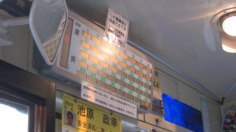 Fare Board in Japan Bus