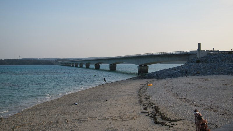 Beach under bridge