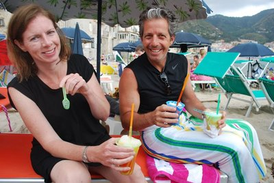 Katie and Lou looking well chilled with their granitas!