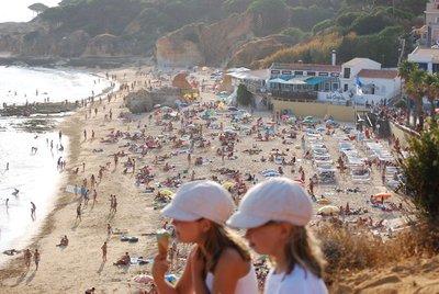 Olhos d'Agua, cliff top view down to our local beach, the busy Praia d'Agua