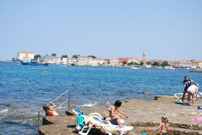 looking toward Porec with a good example of the 'rocky' beach