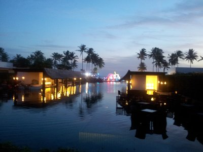 The infinity pool at night