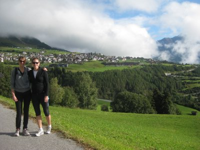 Hiking in Fiss. Austrians love hiking, we couldn't believe how many people we saw (walking with poles as well)