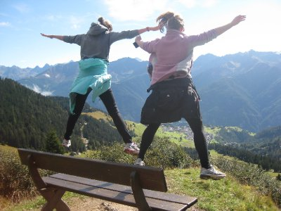 Katie and Prue perfected the art of jump photos! Not a bad location to do it either