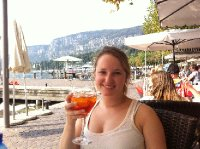 Katie enjoying aperol spritz during lunch at the Garda Lake (she was drunk after one glass)