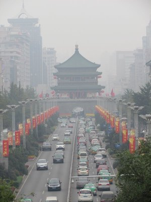 smog covered Xian bell tower