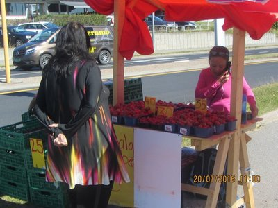 Mala buying Strawberries from a fruit stall