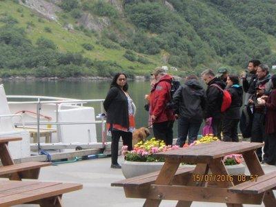 Mala waiting to board Fjord cruise  boat
