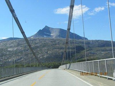 Mountain view from a long bridge