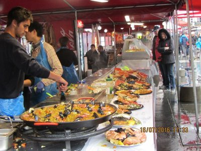 Selling Paella at Bergen Fish Market