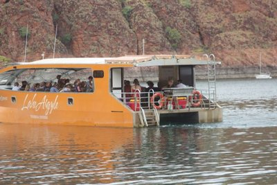 Megan and Rory heading out on their cruise of Lake Argyle
