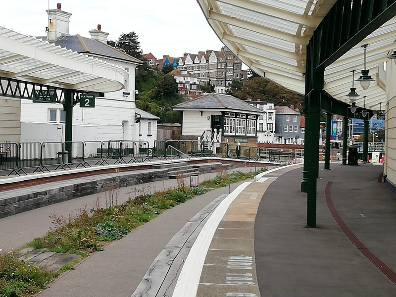 Folkestone Harbour Station and Signal Box - view towards town