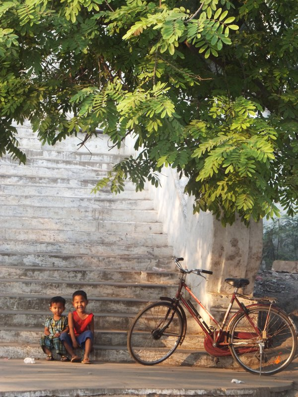 Two kids on the streets of Mandalay