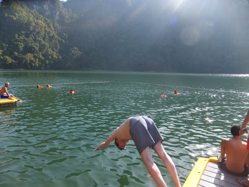 Liam diving into the Lake of the Pregnant Maiden Langkawi