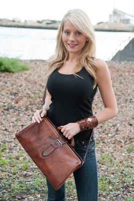 Dark Tan Leather Handbag