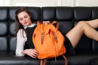 Orange Backpack (eco friendly fabric & organic leather)