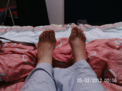 my feet in my bedroom
