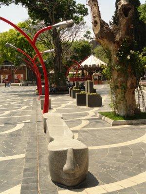 Bench in Fountain Square