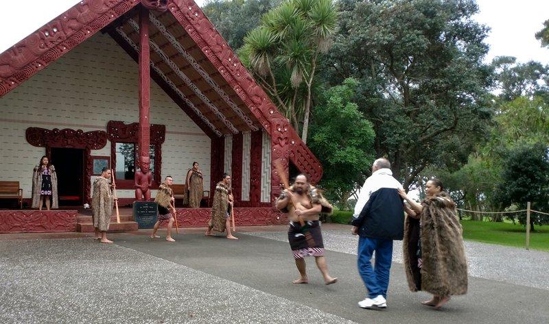 Maori Performers Greeting the Tourists