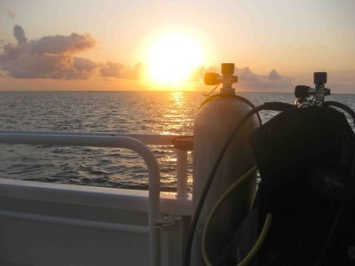 Sunrise on the live aboard boat