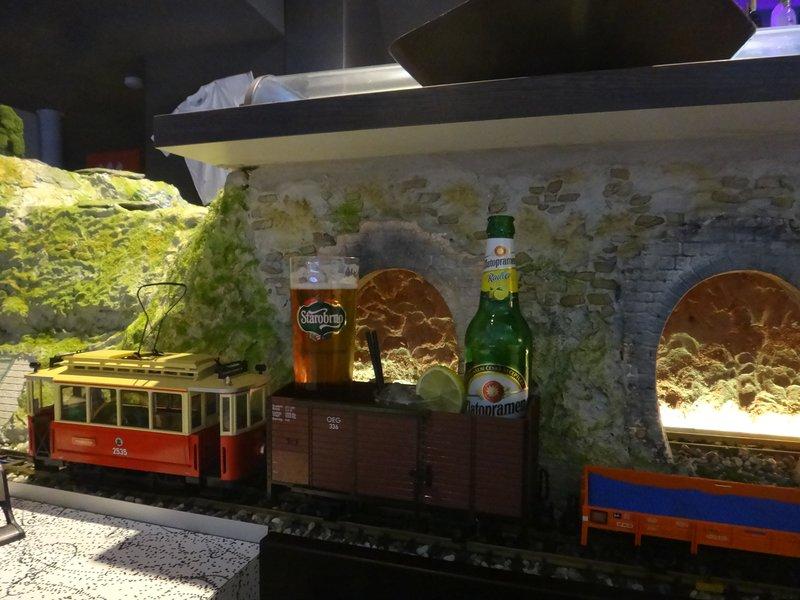 Drinks by miniature train