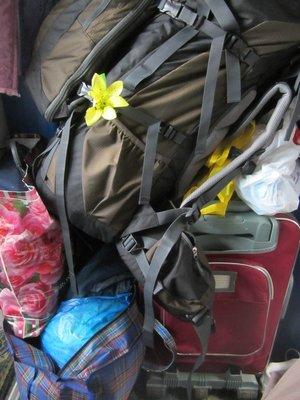 Crowded baggage on train