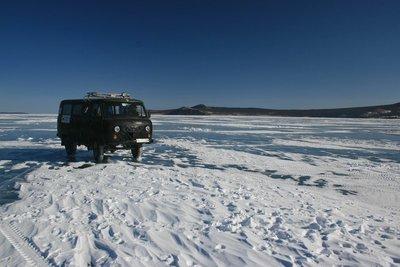 Russian van on frozen waters of the lake