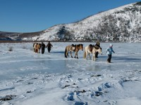 Crossing the ice covered Kherlen River