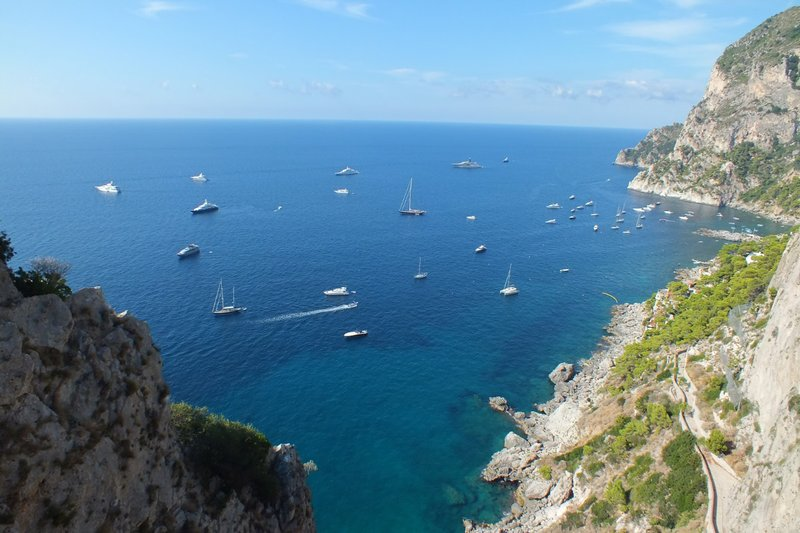 view of cliffs and boats