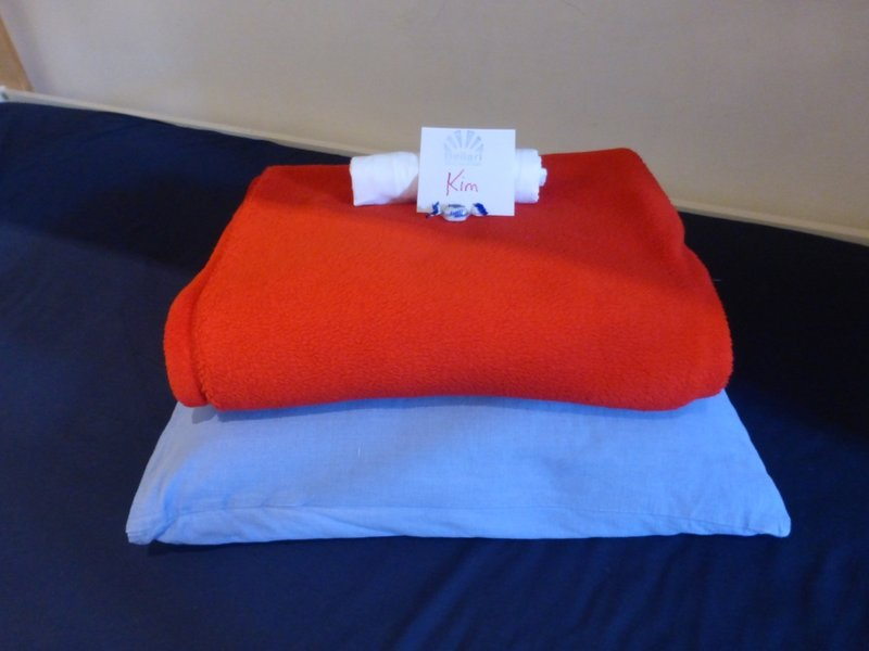 Name card on pillow at first hostel