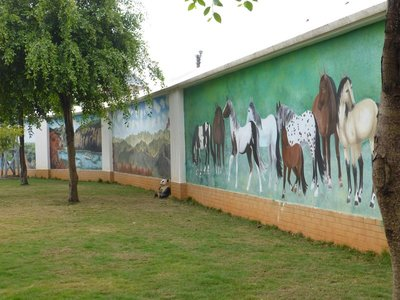 Beautiful murals at the wall of Nuler Kindergarten, Shadian.