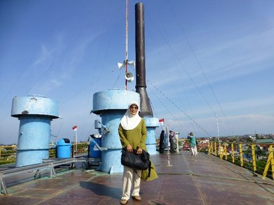 On top deck of PTLD Apung a huge vessel transported by tsunami 5km from the dock to the village