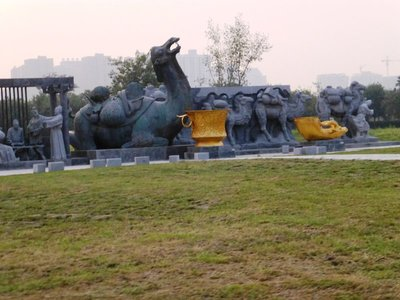 Trading by camels - the Silk Road at Tang Palace Ground.