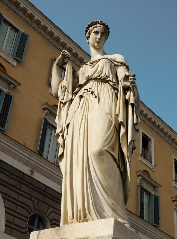 One of four allegorical sculptures in Piazza del Popolo - La Primavera - Spring - by Filippo Gnaccarini - Rome - July 2016