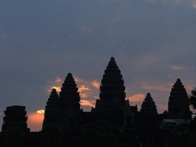 The towers of Angkor Wat at sunrise