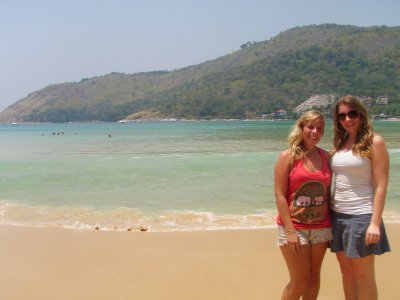 Jo and Sarah on Nai Harn Beach, Phuket