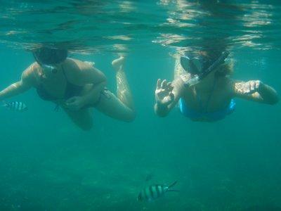 Sarah and Tam snorkeling off Tanote Bay