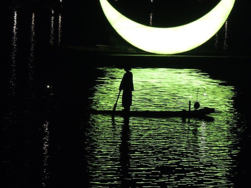 Local fisherman performing in Yangshuo light show