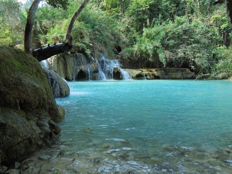 Blue pools at Kuang Si waterfall