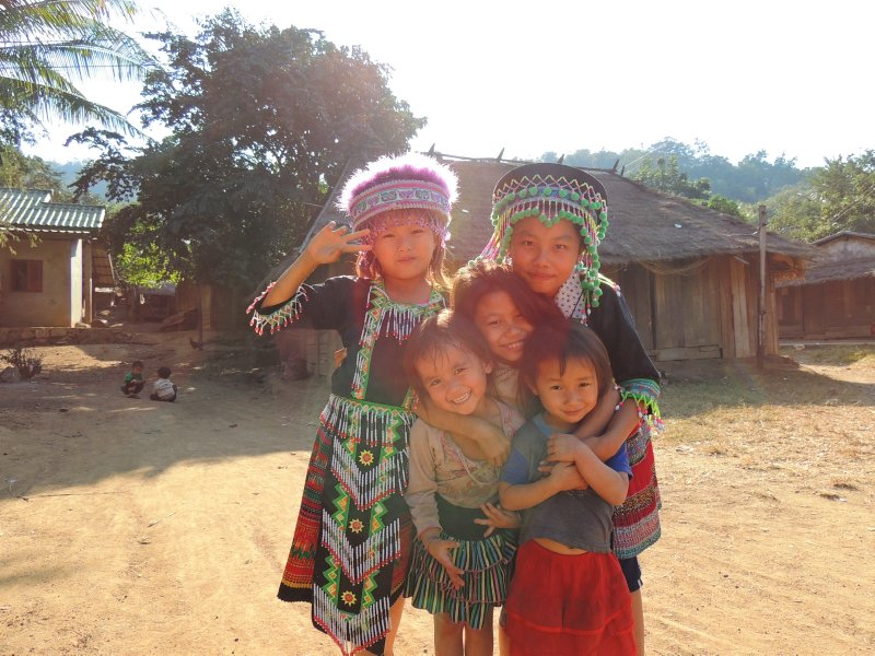 The local kids in the village our tuk tuk broke down in