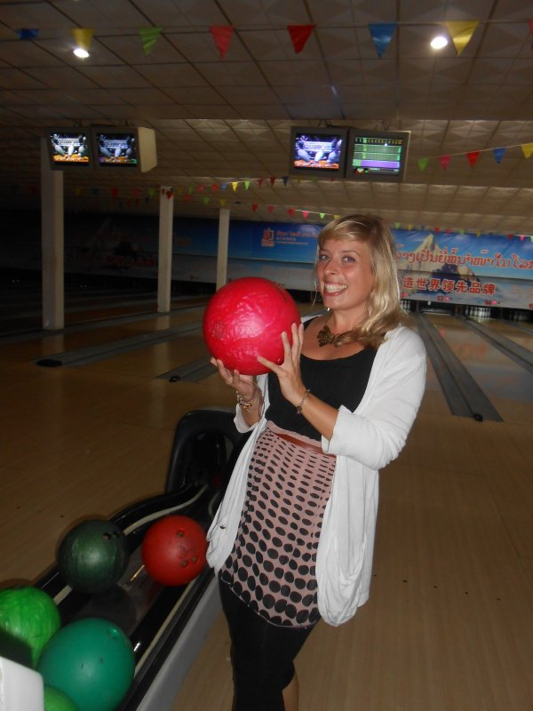 Jo and her favourite bowling balls
