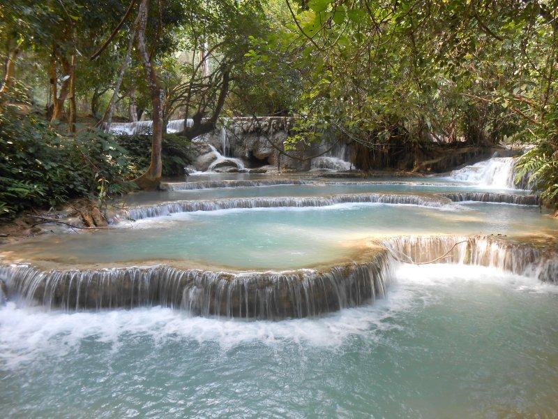 The blue pools at Kuang Si waterfall