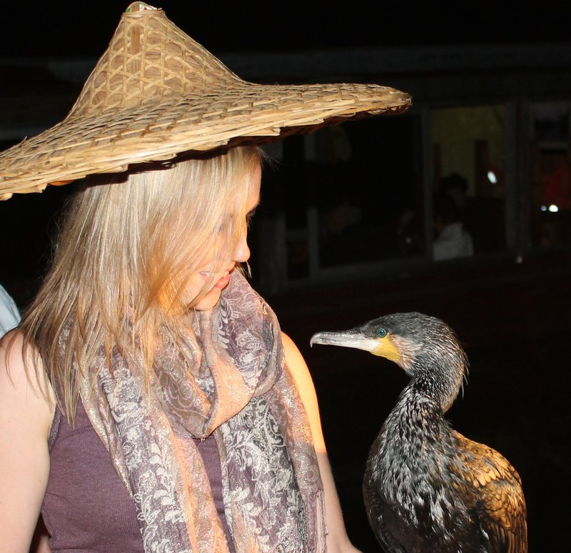 Tam having a chat with a cormorant