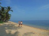 Tam and Sarah off exploring Bangpor Beach, Ko Samui