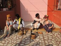 Us with snake charmers in Jaipur city centre