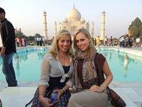 Us on Diana's seat at the Taj Mahal