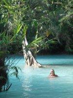 Jo enjoying the freezing cold blue pools!